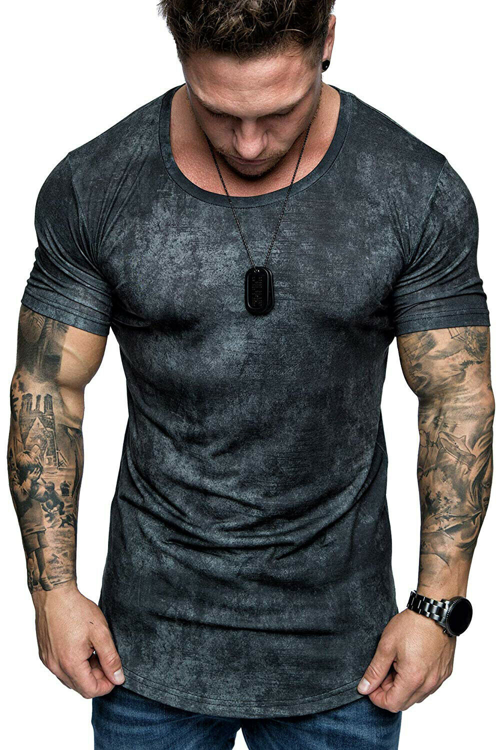 2019 Hot Sale Men's Casual Slim Fit Short Sleeve Muscle Tee Tops Fashion Male Print Fitness T-shirt Slim Pullover Top Clothes