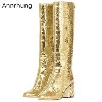 Rhinestone Chunky Heel Long Boots Women Gold Winter Boots Crocodile Pattern Catwalk Botas Fashion Zip Knight Boots 2019 New Bota