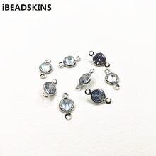 Nouvel arrivage! Connecteurs ronds en cuivre et verre de zirconium pour collier, pièces de boucles d'oreilles, bijoux faits à la main, bricolage, 13x7mm, 200 pièces