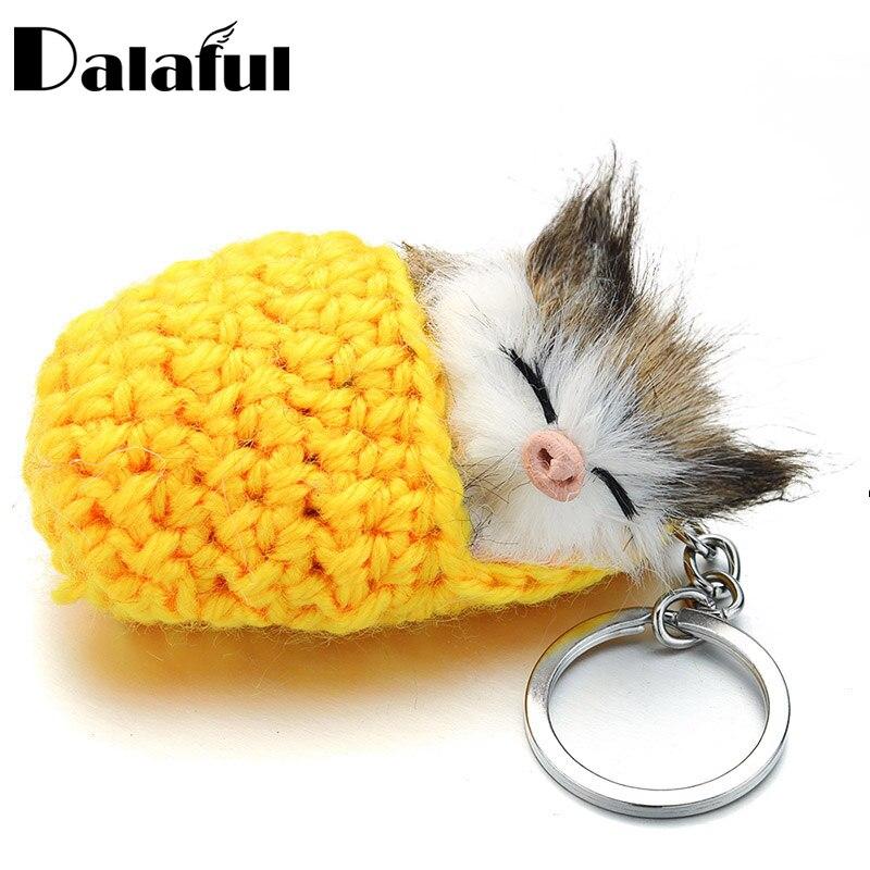 Lovely Sleeping Cat Pompom Keychains Faux Rabbit Fur Cute Kitten Handmade Woven Fluffy Key Chains For Women Girls Gift Car K381