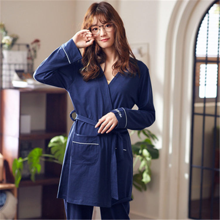 Women's Sleepwear Female Spring Autumn And Winter Cotton Sexy Long Sleeve Sweet Kimono Pants Two-Piece Set Casual WOMEN'S Tracks