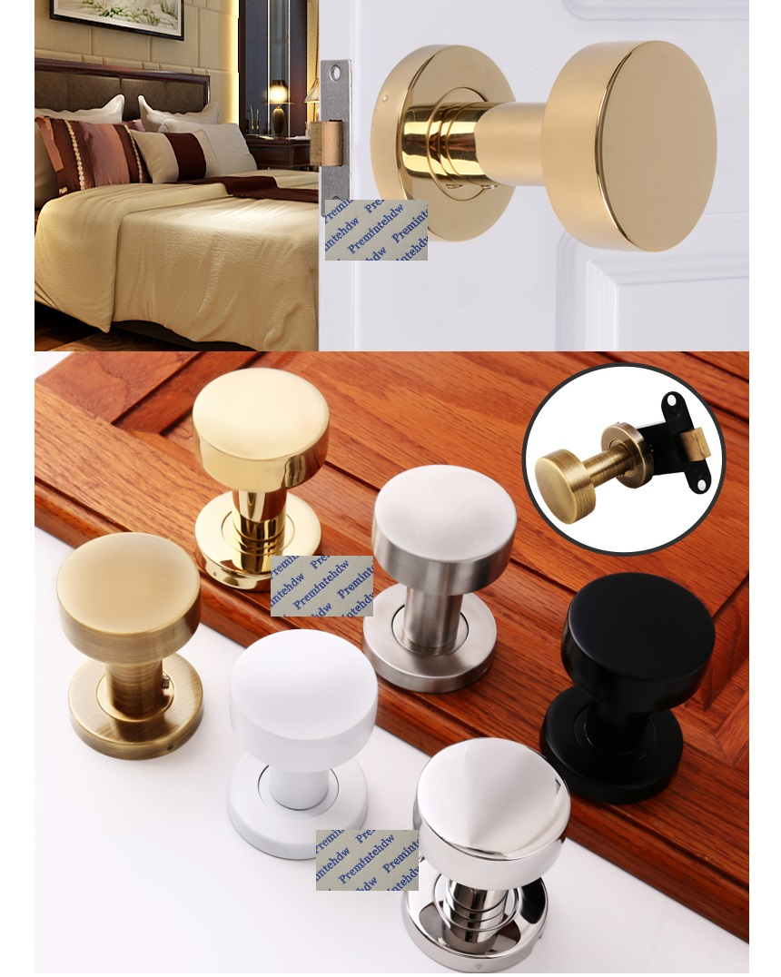 304 Stainless Steel Conceal Mortise Door Lock Dumbbell Knob Single Double Sides Matte Black Red Bronze White Gold