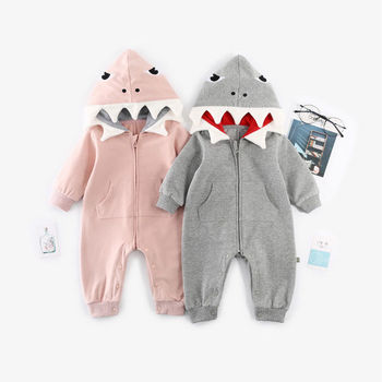 Baby 3D Shark Hooded Jumpsuit - Autumn Winter