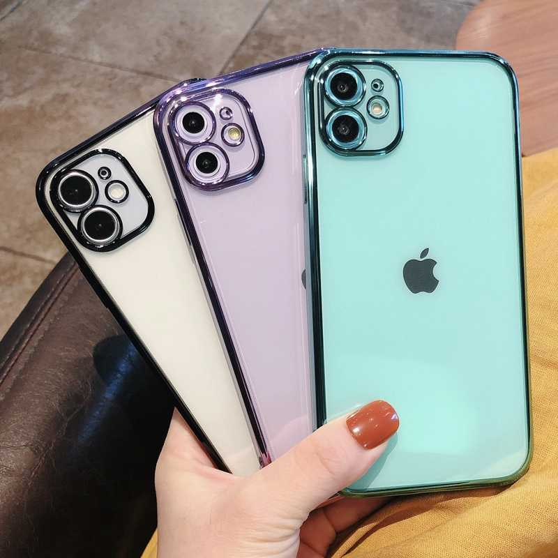 Lembut Transparan Square Silikon Phone Case untuk iPhone 11 12 Mini Pro Max XS X XR Max 7 8 Plus SE 2020 Dilapisi Case Penutup