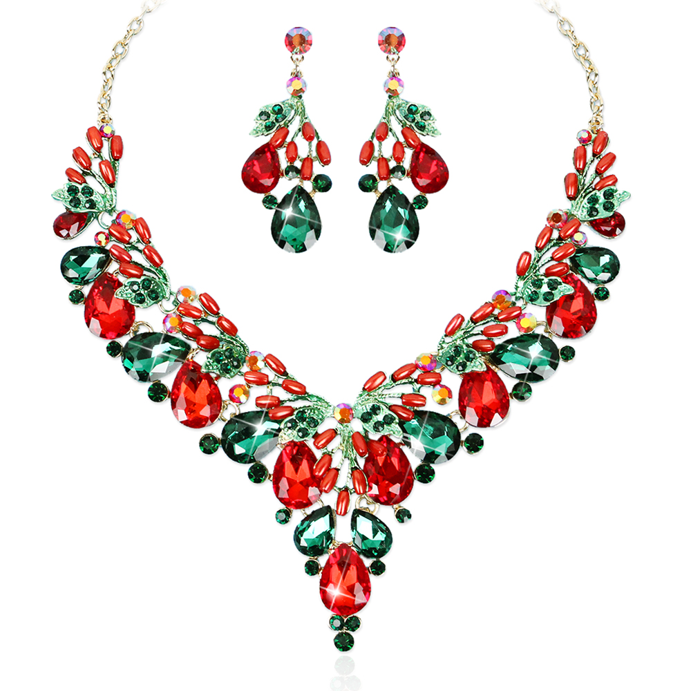 Fashion Crystal Necklace Earrings Indian Luxury Bridal Jewelry Set Wedding Party Prom Costume Jewellery Christmas Gift for Women