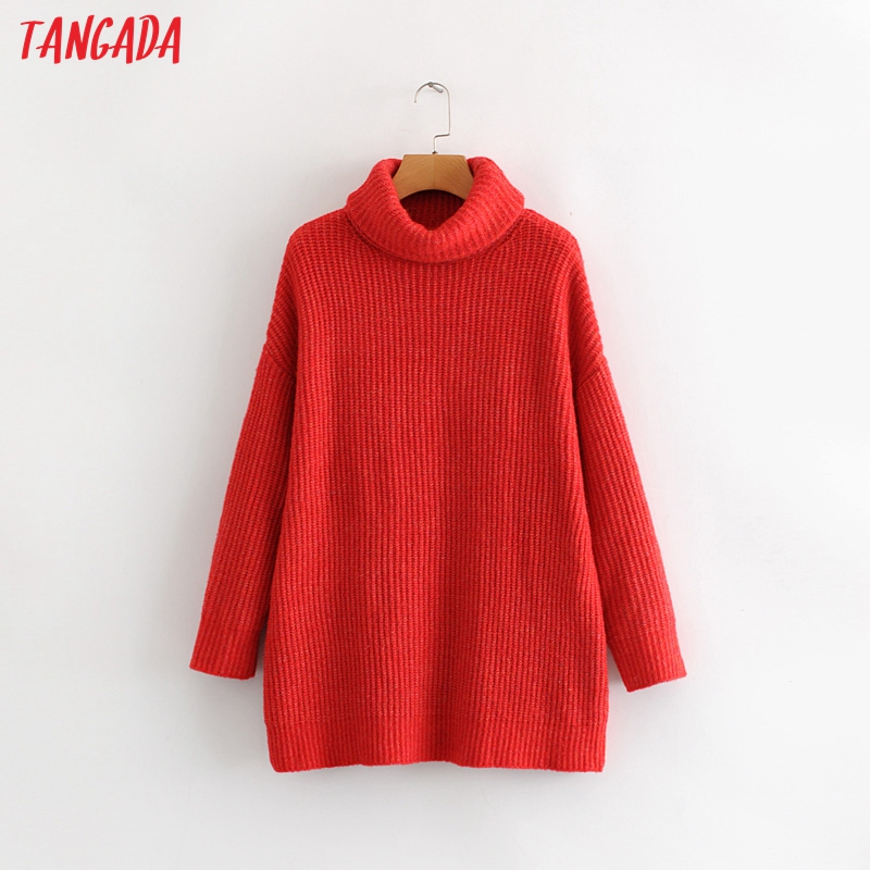 Tangada women jumpers turtleneck sweaters oversize winter fashion 19 long sweater coat batwing sleeve christmas sweate HY135 11