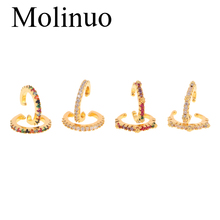 Molinuo new fashion simple small earrings female color cubic zirconia round clip no hollow accessories 2019