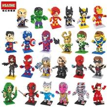 Marvel 24 type 196pcs+ Superheroes Building Blocks Ironman Flash Deadpool Mini Figure Assembled Mirco Bricks Toys For Children