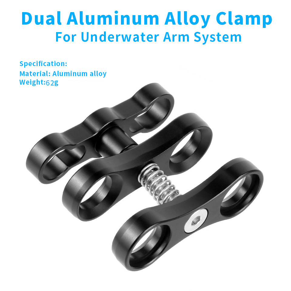 Aluminum Alloy 2-Hole Diving Lights Ball Butterfly Clip Arm Clamp Mount For GoPro Hero 7 6 5 4/ Xiaoyi/ Sjcam Sports Action Cam