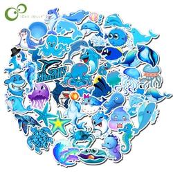 49Pcs Cartoon Sea Animal Sticker Blue Ocean Seticker For Laptop Moto Skateboard Luggage Guitar Furnitur Decal Toy Stickers GYH