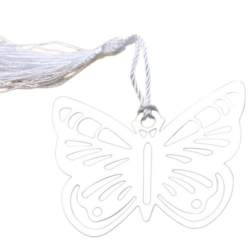 Borboleta oca marcadores de metal com mini cartões borlas kawaii papelaria pingente presentes casamento Favors-12pcs