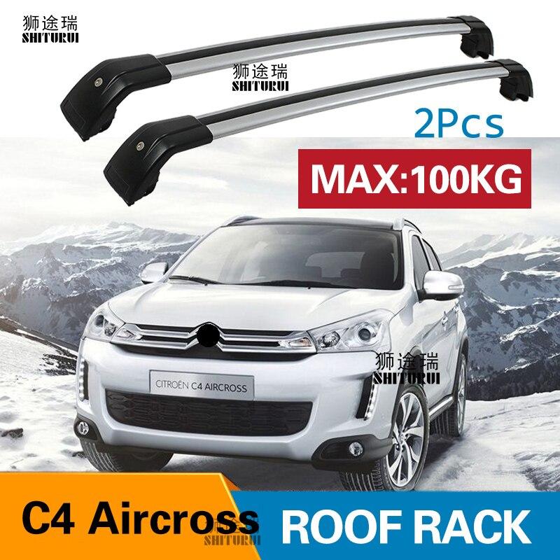 Aluminium Roof Rack Cross Bar Set for Citroen C3 Aircross 2010-2017  Black