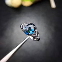 Natural London blue topaz gem Ring Natural gemstone Ring S925 silver trendy Crotch triangle women's girl party gift Jewelry