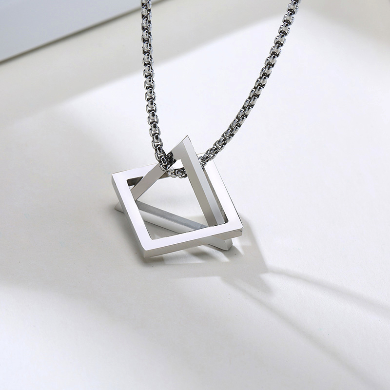 POPULAR INTERLOCKING SQUARE TRIANGLE MALE PENDANT FOR MEN STAINLESS STEEL MODERN TRENDY GEOMETRIC STACKING STREETWEAR NECKLACE