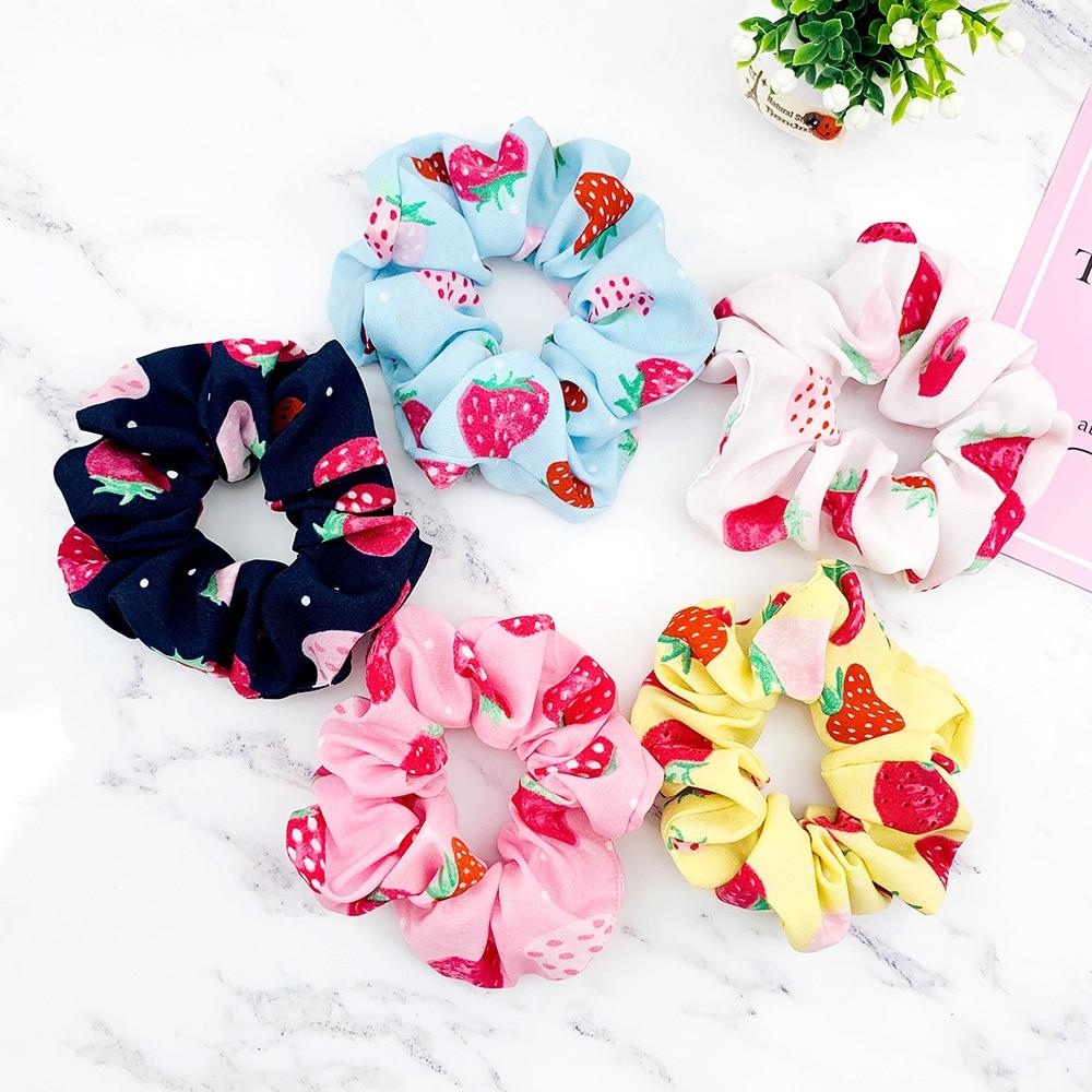 Elastic Headband Korea Fashion Strawberry Print Hairbands Hair Accessories For Women/Girl Hair Scrunchie Ponytail Hair Scrunchie