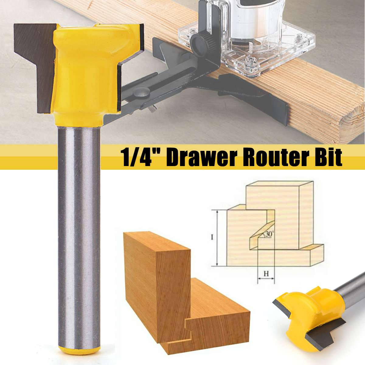 1/4 Inch Shank Reversible Drawer Front Router Bit For Woodworking Cutter Tool Milling Cutter