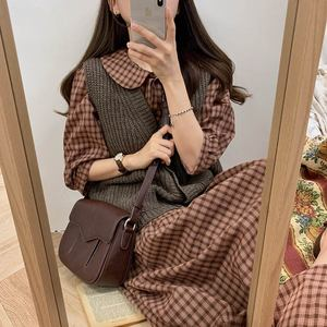 Image 4 - コットンヴィンテージドレス女性新カジュアルかわいいスウィートプレッピースタイル韓国日本 A ラインピーターパン襟格子縞のシャツドレス 9012