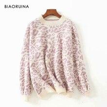 BIAORUINA 女性のファッションヒョウニットセーター O ネック女性暖かい特大プルオーバー女性甘い厚手のセーター