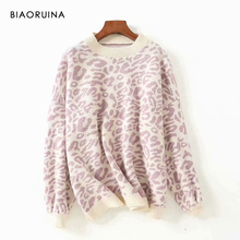 BIAORUINA Womens Fashion Leopard Knit Sweater O neck Female Casual Keep Warm Oversized Pullover Ladies Sweet Thick Sweater