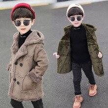 Осень-зима, Новое Детское шерстяное пальто Детская замшевая ветровка, толстая модная шерстяная куртка для мальчиков средняя и длинная секция