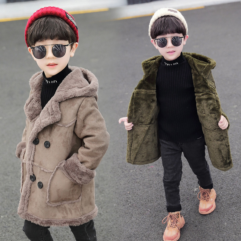 Autumn And Winter The New Children's Woolen Coat Kids Suede Windbreaker Thick Fashion Boys Wool Jacket Medium And Long Section