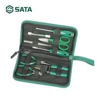 SATA 8pcs Eletrônico Set Kit ferramentas Manuais Chaves De Fenda Alicates Diagonais saco ferramenta de Reparo 03750