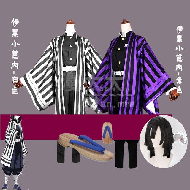 Anime Demon Slayer: Kimetsu no Yaiba Iguro Obanai Cosplay Costume Men Party Suit Full set with Wig Shoes Clog
