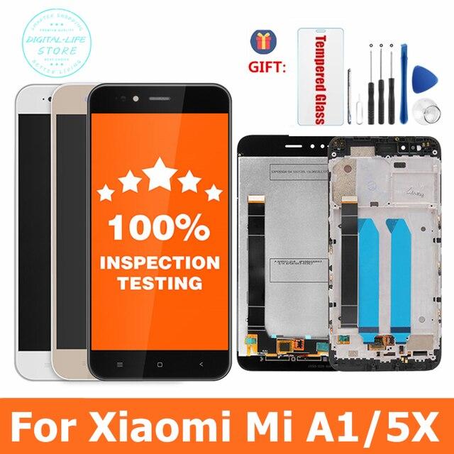 100% probado para Xiaomi Mi A1 pantalla LCD + marco 10 Panel de pantalla táctil para Xiaomi A1 LCD digitalizador ensamblaje piezas de repuesto