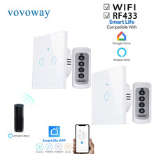 Vovovoway Interruptor táctil europeo, interruptor de luz, red WIFI + aplicación para teléfono móvil + función de control inalámbrico RF, AC110 V220V de 1gang2gang3gang
