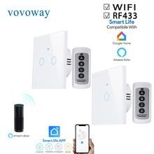 Vovovoway interruptor de toque da ue, interruptor de luz, rede wifi + aplicativo de telefone móvel + função de controle sem fio rf, «AC110 V220V