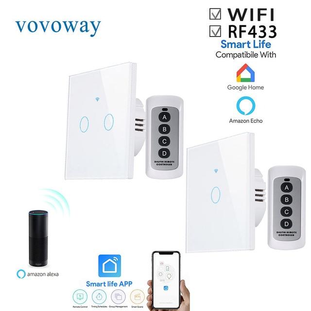 Vovoway האיחוד האירופי מגע מתג, מתג אור, WIFI רשת + טלפון נייד APP + RF אלחוטי שליטה פונקציה, 1gang2gang3gang AC110 V220V