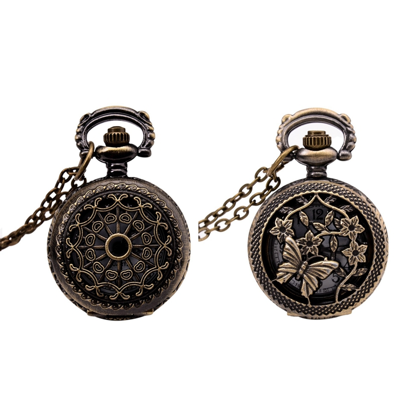 2 Pcs Watches Vintage Bronze 31.5inch Chain Antique Pocket Watch Fashion Gift-Cobweb & Butterflies And Flower