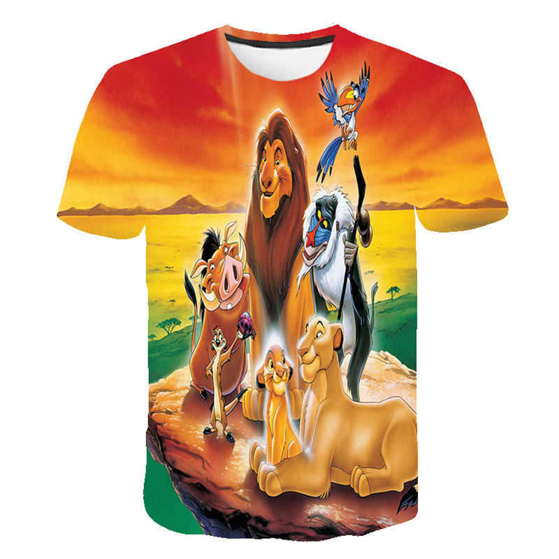 2020 New High Quality Children Cute King Cartoon Lion King Print T-shirt Girls/Boys Funny Animal Baby Clothes Kids Summer Tshirt