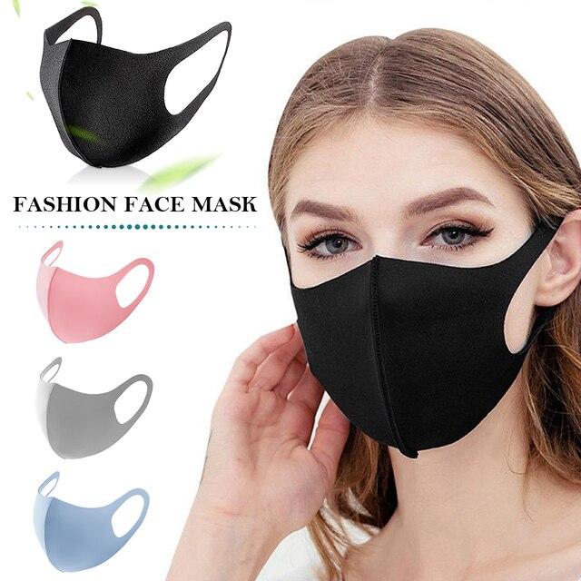 Black Face Mask Mouth Cover Washable Reusable mask Dust Soft Face Mask Breathable Unisex Anti Pollution mascherina lavabile 3