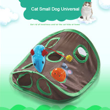 Divertente Pet Gatto Mouse Intelligenza Giocattoli Educativi Gioco Tenda di Bell con 9 Fori Tunnel Pet Cat Gioca Giocattoli Tunnel Tubi gli Animali Domestici Forniture(China)