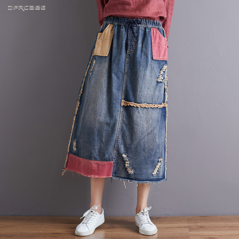 Women/'s Denim Jeans Skirt A-Line Ladies Applique Skirt Casual French style Skirt