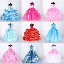 Белое Элегантное свадебное платье принцессы ручной работы для куклы Барби, платье куклы с цветочным рисунком, одежда, многослойные аксессуары для кукол