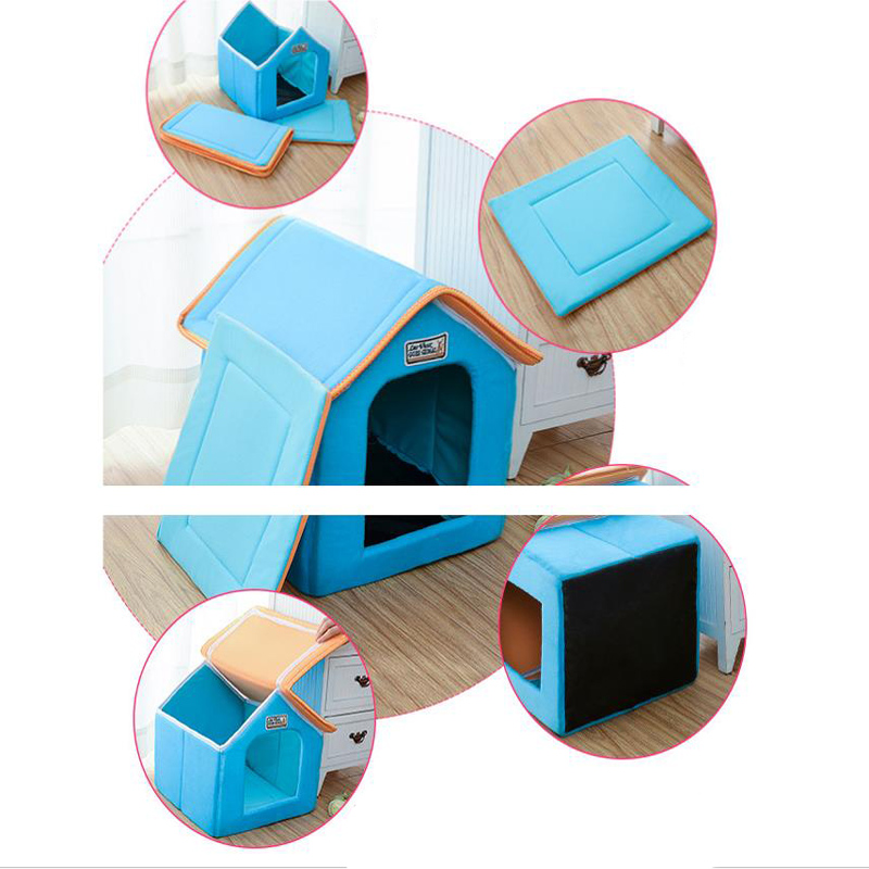 Pet House Foldable Bed With Mat Soft Winter Leopard Dog Puppy Sofa Cushion House Kennel Nest Dog Cat Bed For Small Medium Dogs 7