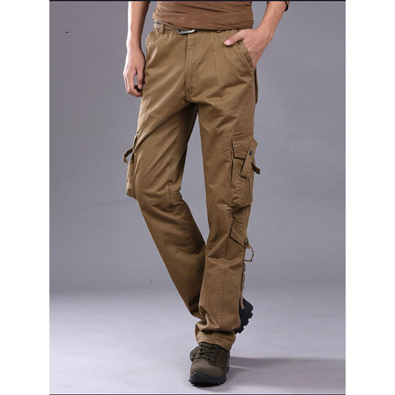 2019 Mens Military Cargo Pants Multi-pockets Baggy Men Cotton Pants Casual Overalls Army Tactical Trousers No Belts Plus Size