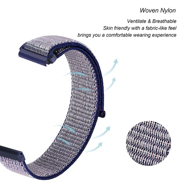 الرياضة استبدال المنسوجة حزام نايلون ل Fitbit العكس تنفس قابل للتعديل إغلاق حلقة حزام (استيك) ساعة ل Fitbit العكس ساعة ذكية