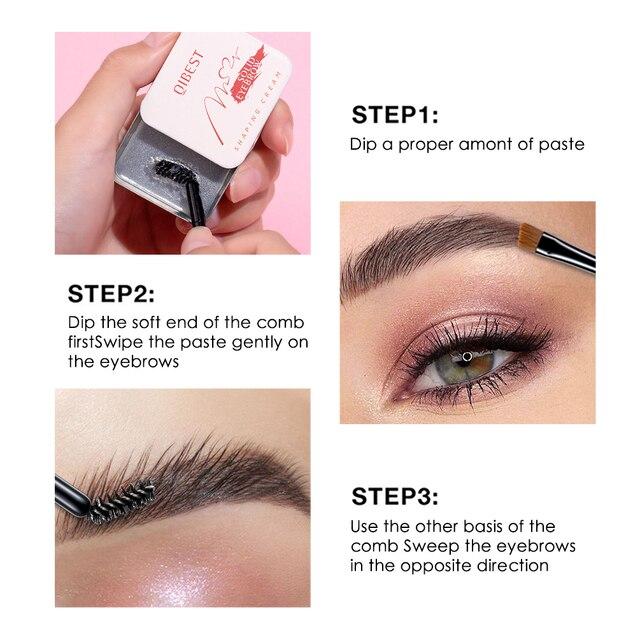 QIBEST Eyebrow Makeup Eyebrow Powder Gel Palette Eyebrows Enhancer With Brush Professional Cosmetics Eyebrow Shadows Soap Wax 4