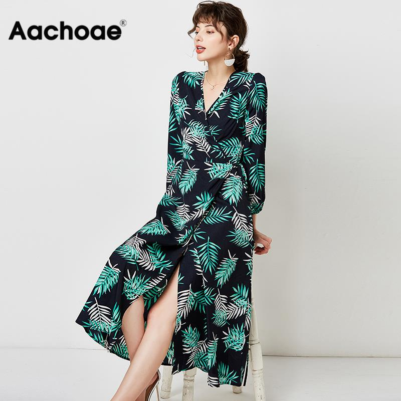 Aachoae Women V Neck Sexy Split Elegant Dress 2020 Vintage Floral Print Boho Long Dress Casual Lantern Sleeve Lady Midi Dresses