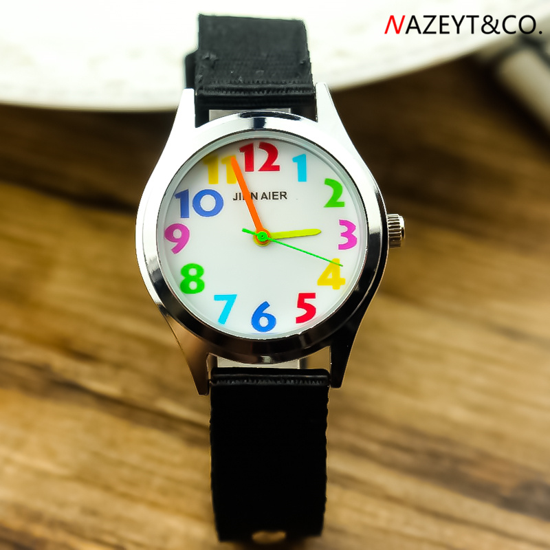 Dropshipping Kids Quartz Watch Little Student Boys Girls Color No. Scale Easy Learn Time Sports Watch Children Nylon Wristwatch
