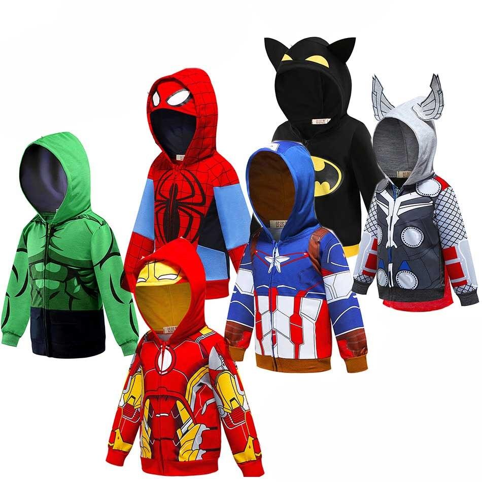 Bebé niños Cool superhéroes Sudadera con capucha sudadera de dibujos animados niños ropas de carros de primavera otoño abrigo Delgado niños chaqueta con capucha de rol
