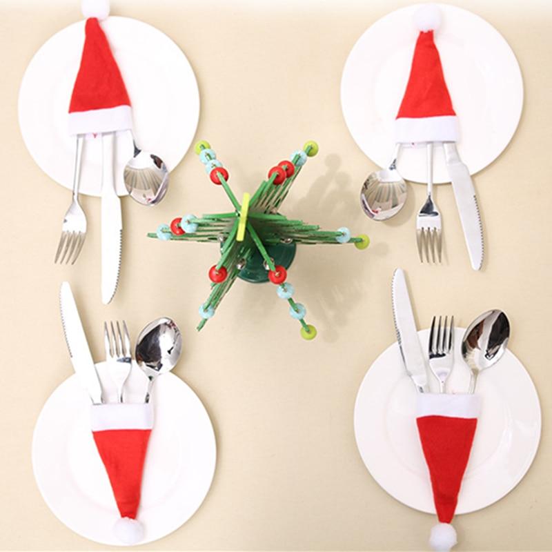 5/10PC Tableware Holder Bag Christmas Hat New Year 2022 Christmas Decorations for Home Christmas Decor Noel Xmas Navidad