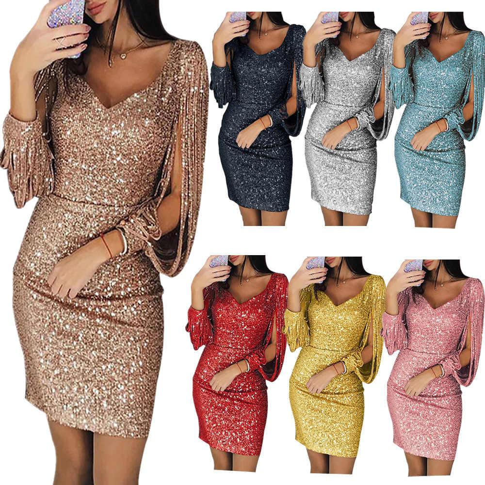 2019 yeni moda seksi kadınlar v yaka katı payetli Glitter dikiş Shining kılıf uzun kollu Mini elbise kadın Vestidos