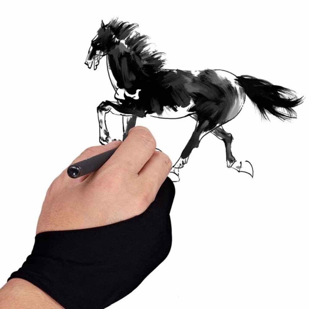 Preto 2 dedo luva anti-incrustação, tanto para o desenho do artista da mão direita e esquerda para qualquer tablet de desenho de gráficos