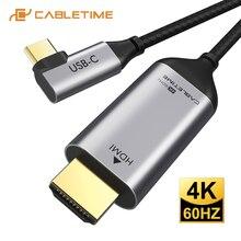 2020 CABLETIME USB C Sang HDMI 90 Độ Cáp Type C To HDMI 4K 60Hz Cho Huawei mate40/20 P40/30 Pro Samsung Xiaomi C030