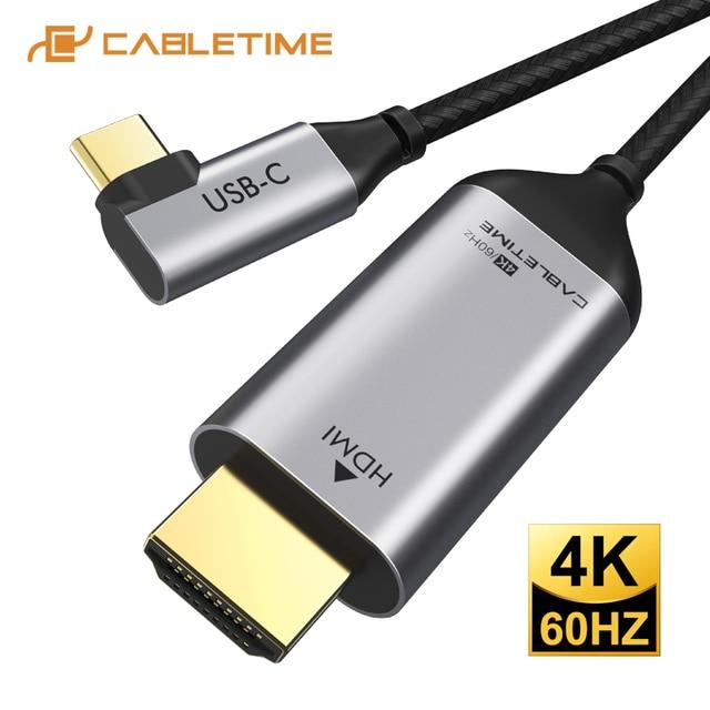 Cable adaptador USB C a HDMI de 90 grados, Cable tipo C a HDMI 4K 60Hz para Huawei Mate30/20 P40/30 Pro, Samsung, Xiaomi C030, 2020