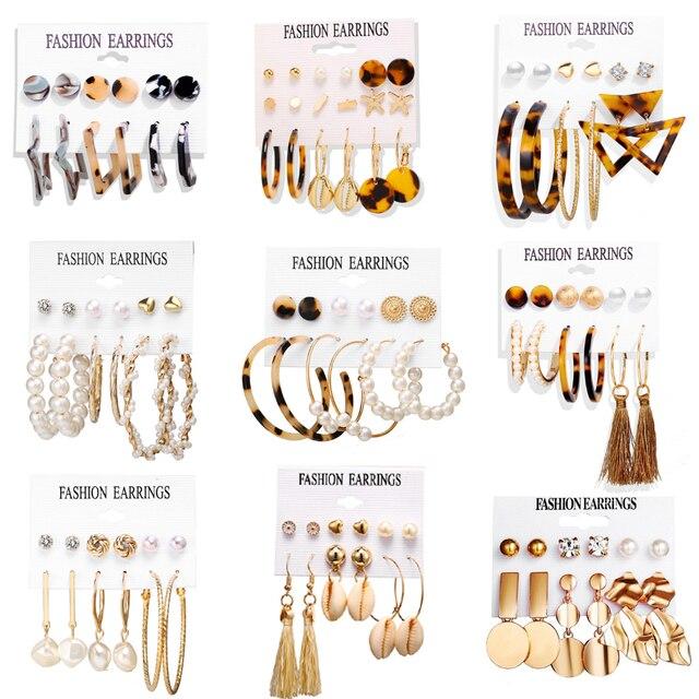 17KM Women Earrings Set Acrylic Pearl Earrings For Women Bohemian Leopard Tassel Stud Earrings 2020 New Brincos Fashion Jewelry 4